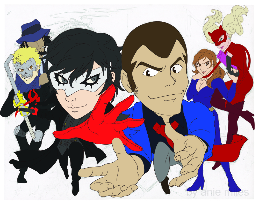 Colored sketch of anime characters: Joker and Lupin, Skull and Jigen, Panther and Fujiko (a crossover of Persona 5 and Lupin the 3rd).