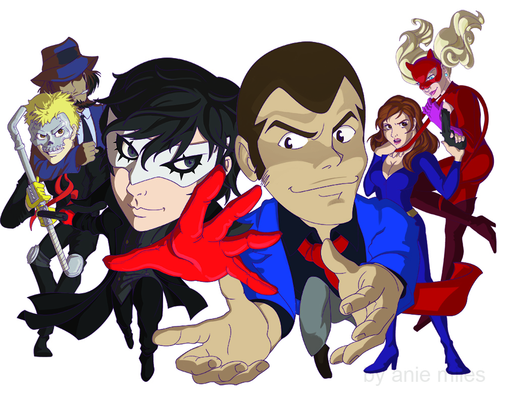 Coloring with Shadows and refined lines, composed of anime characters: Joker and Lupin, Skull and Jigen, Panther and Fujiko (a crossover of Persona 5 and Lupin the 3rd).
